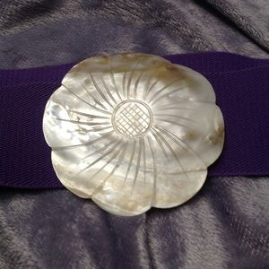 Accessories - Purple Belt - Faux Mother of Pearl Clasp